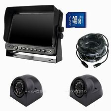 "9"" QUAD MONITOR BUILT-IN DVR 2 x SIDE VIEW CAMERAS REAR VIEW CAMERA SYSTEM KIT"
