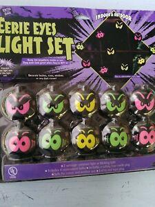 1 Set Eerie Eyes 10 Ct Blow Mold Halloween String Lights Indoor/Outdoor