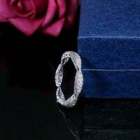 925 Silver Jewelry Women Wedding Rings Round Cut White Sapphire Ring Size 6-10