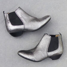 Fly London Sly Leather Chelsea Boots, Size 5-5.5, Silver NEW With BOX - RRP $280