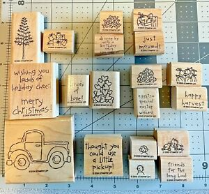 Stampin Up Wooden Rubber Stamp Set Loads of Love Set of 19 stamps Pickup Truck