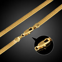 Schlangenkette Edelstahl vergoldet 40 -60cm Kette flach Collier Halskette Unisex