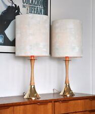Retro MID CENTURY Tony Paul DANISH 'CREMET' table LAMP, new bespoke shades pair