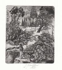 Ivana KANTURKOVA Czech Surreal exlibris Lady in Garden 1983 Etching Radierung