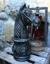 "Antique Vintage Cast Iron Horse Head /w Ring Hitching Post Top 12.75"" Tall"