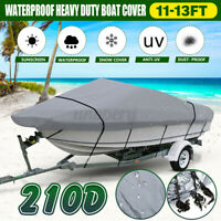 210D 11-13FT Heavy Duty Speedboat Boat Cover Waterproof For Fish Ski Bass Grey