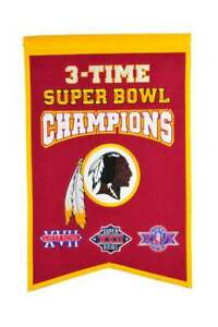 """WASHINGTON REDSKINS 3 TIME SUPER BOWL CHAMPIONS EMBROIDERED WOOL BANNER 14""""X22"""""""