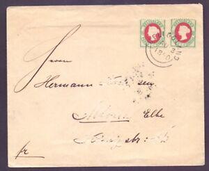 Helgoland Brief 1882 mit 2mal MiNr. 14 e geprüft Foto-Befund nach Altona (423)