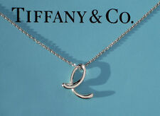 "Tiffany & Co Elsa Peretti Alphabet Letter Initial E Sterling Silver 18"" Necklace"