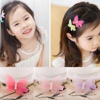 1 Pair Pretty Baby Kids Girls Chiffon Butterfly Hair Pin Head Wear Hair Clips