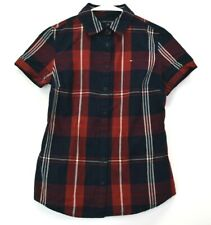 Tommy Hilfiger Women's XS Short Sleeve Button Up Plaid Dress Casual Shirt