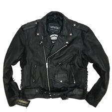 Men's Unik Leather Apparels Black Motorcycle Riding Bike Jacket - Size 46 - NWT