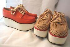 (2) JIL SANDER NAVY 5 Platform Leather Sneaker Shoes Orange & Tan