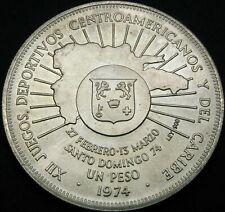DOMINICAN REPUBLIC 1 Peso 1974 Central American and Caribbean Games SILVER