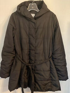 Motherhood Maternity Expandable Quilted Winter Puffer Coat Jacket Medium Hooded
