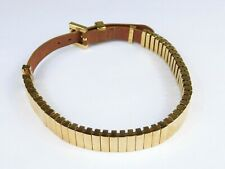 "Michael Kors Gold Tone & Brown Leather Choker Necklace Buckle Collar 14-16"" Long"