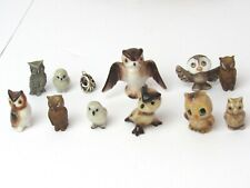 MINIATURE OWL FIGURINES - SET OF 12 BEAUTIFUL CERAMIC AND OTHER
