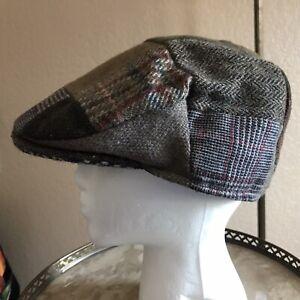 HANNA HATS IRELAND 100% PURE NEW WOOL FLAT CAP PATCHWORK TWEED XL 7 5/8 - 7 3/4