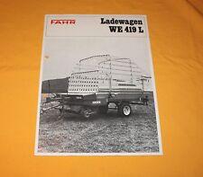 Deutz Fahr Ladewagen WE 419 L 1972 Prospekt Brochure Catalog Prospetto Depliant