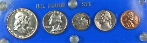 1951 United States Mint Proof 5 Coin Beautiful Set Blue Case 90% Silver (B)