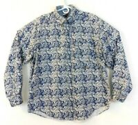 Tommy Hilfiger Hawaiian Tropical Print Shirt Size Large Blue/White Floral