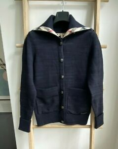BNWT 100% Auth Burberry Knitted Cardigan With Checked Trim & Removable Snood S