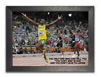 Usain Bolt 2 Jamaican Sprinter World Record Holder Motivation Quote Poster Photo