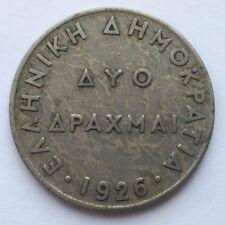 1926 GREECE 2 DRACHMAI COIN FREE SHIPPING