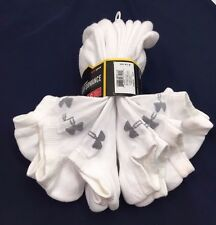 Under Armour Performance 6 Pair No Show Socks Cotton White Size Large NEW $20