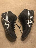 Men's Vintage ASICS J504N Split Second Black Blue Wrestling Shoes Size 9.5