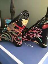 Hollywould NEW In Box Black Barbuda Wedge Heels Sandals Black Fish 37 7 $595