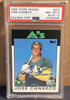 1986 Topps Traded Jose Canseco Auto PSA/DNA 10 Certified Signed PSA 8 Rookie RC