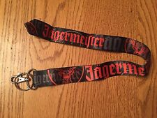 Jagermeister Lanyard with Keychain & ID Clip  - Black w/ Orange Name & Logo