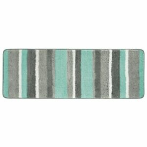 mDesign Striped Microfiber Polyester Rug, Non-Slip Spa Mat/Runner - Mint/Gray
