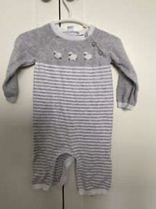 Little White Company Lamb Sheep All In One Romper 0-3 Months