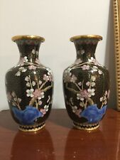 Pair Of Very Nice Hand Made Cloisonné Ware Vases - Flowers