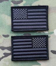 Black Stealth US American Flag Morale 2 Patch Set USA Reverse VELCRO® BRAND