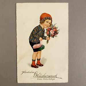 Alte Postkarte an Melitta in Berlin 1928 AK Jugendstil-Kappe Kind Geschenk-Paket