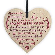 Best Friend Keepsake Gift Wooden Heart Plaque Birthday Christmas Gifts For Women