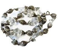 Vintage Silver Tone Faceted Bicone Glass Bead Necklace 19 Inch Long GIFT BOXED