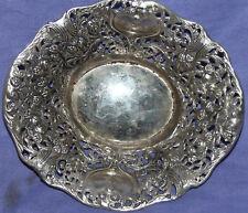 Vintage metal oval ornate floral bowl