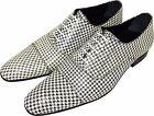 ORIGINALE Chelsy - ITALIANO Designer Pantofola PIED DE POULE BIANCO/NERO 43
