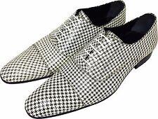 Original Chelsy - Italienische Designer Slipper Rastermuster weiß / schwarz 44