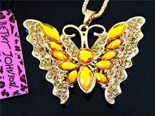 Betsey Johnson Jewelry Pendant Rhinestone Butterfly Women Chain Long Necklaces