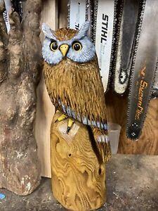 "HORNED OWL Chainsaw Carving SASSAFRAS WOODEN Owl ORIGINAL Folk Art 24"" TALL"