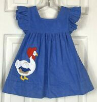 Vintage Infant Baby Girl Jumper Dress 12 Mo. Blue Mother Goose Corduroy Ruffles
