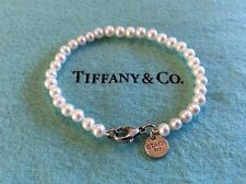 Tiffany & Co Sterling Silver Ziegfeld Collection Pearl Bracelet Pearls 6.5 Inch