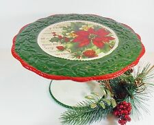 "Christmas Footed Cake Plate/Stand ""Home for Christmas""/Poinsettia/Ceramic"