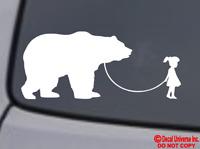 GIRL WALKING A BEAR Vinyl Decal Sticker Car Window Wall Bumper Funny Pet Grizzly