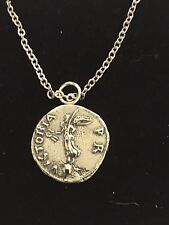 "Denarius Of Galba Coin WC73 Pewter On a 24"" Silver Plated Chain Necklace"